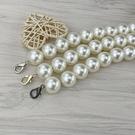 包包鍊條 珍珠鍊條帶diy配件帶包包側背斜背背包帶單買大珍珠包鍊替換小香 晶彩