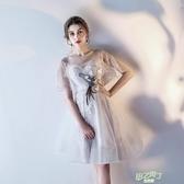 洋裝 新品正韓伴娘服短版宴會聚會派對小禮服連身裙洋裝大尺碼夏  快速出貨