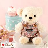 Hamee 日本製 手工 紅色碎花 吊帶褲 絨毛娃娃 玩偶禮物 泰迪熊 (奶油色/S) 640-197405
