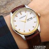 2018新款雙日歷男錶多功能防水錶帶學生手錶機械男士腕錶休閒-Ifashion