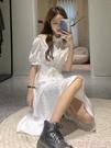 露肩洋裝 白色初戀桔梗裙女2021夏季新款小眾露肩短袖連身裙學生甜美長裙子 suger