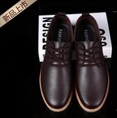 夏季男士商務休閒鞋防水黑色小皮鞋爸爸鞋