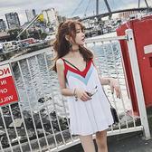 韓國V領百褶露背吊帶裙寬鬆小個子短款連衣裙海邊度假旅遊沙灘裙 雙12鉅惠 聖誕交換禮物