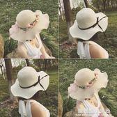 草帽子女夏天韓版潮花環海邊沙灘帽太陽防曬大沿帽休閒百搭遮陽帽