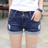 春夏季破洞牛仔短褲女新款卷邊彈力顯瘦修身韓版緊身百搭熱褲   可然精品鞋櫃