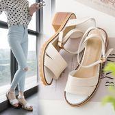 涼鞋女士夏季潮學生韓版百搭粗跟中跟復古港風羅馬女鞋子 『CR水晶鞋坊』