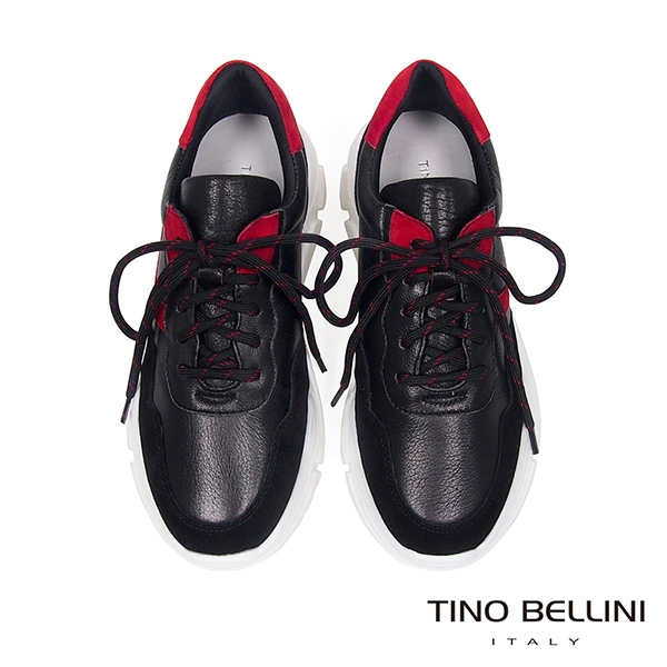 Tino Bellini 潮流異材質拼接風綁帶內增高休閒鞋 _ 黑紅 TF8584