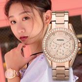 FOSSIL RILEY 奢華水晶玫瑰金腕錶 ES2811 熱賣中!