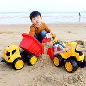耐摔兒童沙灘玩具車大號工程車推土機挖掘機鏟車翻斗卡車模型男孩igo『韓女王』