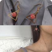 三角形幾何草莓珠子圓球小可愛耳環首飾品耳夾女免運直出 交換禮物