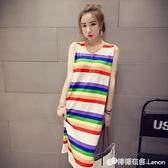 夏裝韓國bf風寬松大碼中長款彩虹條紋純棉過膝無袖T恤洋裝女潮 檸檬衣舍