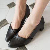 高跟鞋.拼接素面皮革跟鞋.白鳥麗子