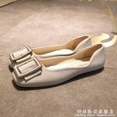方頭鞋平底單鞋淺口平跟豆豆鞋水鑚方扣媽媽孕婦鞋軟底歐美春秋女鞋 科炫數位