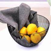 北歐創意鐵藝水果盤現代簡約水果籃客廳家用零食收納筐干果水果盆   夢曼森居家