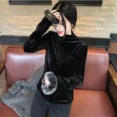 2018秋裝新款氣質半高領T恤修身打底衫長袖金絲絨袖口毛毛上衣女