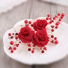 新娘髮飾  布藝玫瑰花朵頭花秀和服飾品