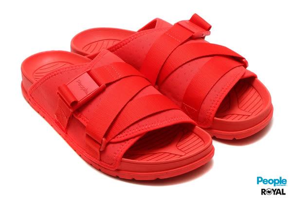 PEOPLE 新竹皇家 The Lennon Chiller 紅色 扣帶 輕量 涼拖鞋 男女款 NO.A7438