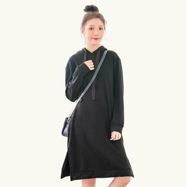 長版T--修身素面抽繩連帽下襬開衩複合絨毛長袖連身裙(黑.粉M-3L)-A405眼圈熊中大尺碼