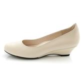 全真皮百搭素面楔型鞋-杏色‧karine(MIT台灣製)