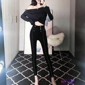 窄管褲 雙排扣網紅牛仔褲女裝秋新款緊身顯瘦百搭高腰小腳褲