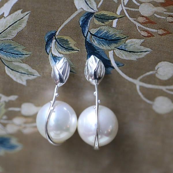 素銀大顆粒雅致珍珠立體荷花純銀耳環