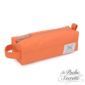 La Poche Secrete 率性韓風自在休閒帆布漾彩筆袋化妝包萬用包-粉橘色A008