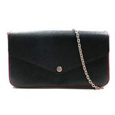 【台中米蘭站】全新品 Louis Vuitton 鏈帶釦式手拿長夾斜背包 (M64579-黑)