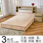 IHouse-秋田日式收納房間組(床頭箱+床底+床邊櫃)-雙大6尺梧桐