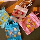 【發現。好貨】韓國小清新透明拼接水果西瓜鳳梨檸檬柳丁英文帆布購物袋果凍沙灘包可愛女側包