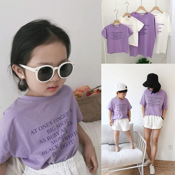 親子裝夏裝新款男女兒童紫色英文奧戴爾短袖t恤母女母子裝潮 【korea時尚記】