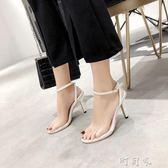 清貨潮鉚釘細跟高跟鞋性感透明一字帶涼鞋女夏季女鞋【町目家】