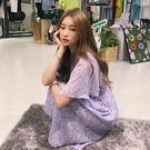 梨卡 -韓國氣質甜美優雅花紋印花綁帶短袖雪紡連身裙連身短裙洋裝/2色B883