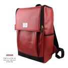 紅色-個性皮革後背包  AMINAH~【am-0295】