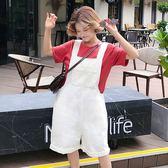 EASON SHOP(GU6903)實拍水洗牛仔純色白色大口袋壓線反摺牛仔吊帶褲女直筒寬褲高腰顯瘦女七分短褲