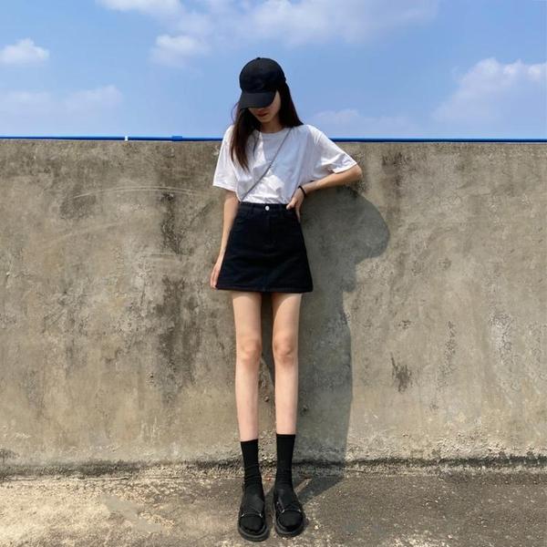 黑色牛仔短裙女2021年夏季新款高腰韓版包臀裙帶內襯a字半身裙褲 夢幻小鎮「快速出貨」