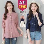 【五折價$350】糖罐子滿版葉子印圖單口袋雪紡上衣→預購【E51500】
