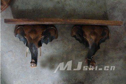 東南亞風格壁飾 進口柚木傢俱 雙像頭壁掛台