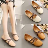 降價兩天 韓版單鞋女 復古森女圓頭娃娃鞋百搭平底奶奶鞋舞蹈鞋