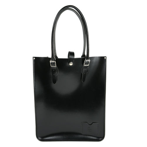 【The Leather Satchel Co.】英國原裝手工牛皮托特包 手提包 肩背包 壓釦設計 精湛工藝 (搖滾黑-漆皮)