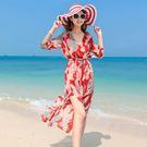 沙滩裙女海边度假波西米亚长裙泰国雪纺连衣裙仙女裙chic超仙显瘦『艾麗花園』