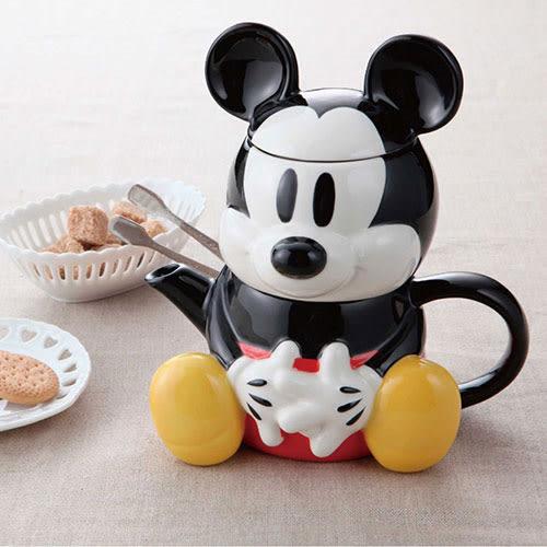 《sun-art》迪士尼米奇坐姿人偶造型陶磁茶壺杯組/單人茶具組★funbox生活用品★_NR22297