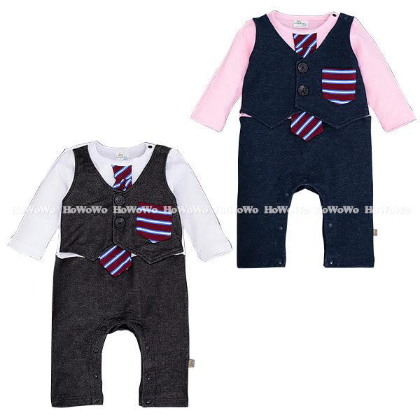 超低折扣NG商品~ 長袖兔裝 小紳士假兩件領帶長袖連身衣 LU5343 好娃娃