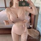優雅純色 交叉綁帶 高腰遮肚 美型低胸 二件式 無鋼圈舒適泳衣 泳裝 粉紅 黑 比基尼