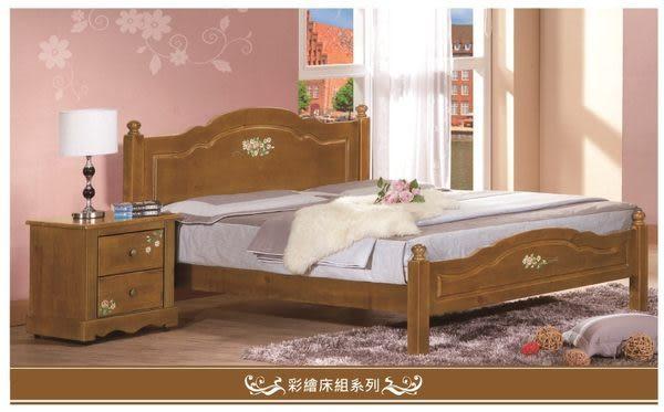 【大熊傢俱】鄉村彩繪床組 實木 床架 床台 雙人床 單人床 可改烤白色 (現貨展示)