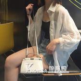 沙灘防曬衣女中長款海邊度假夏季薄款女學生蝙蝠袖雪紡開衫外套bf  korea時尚記
