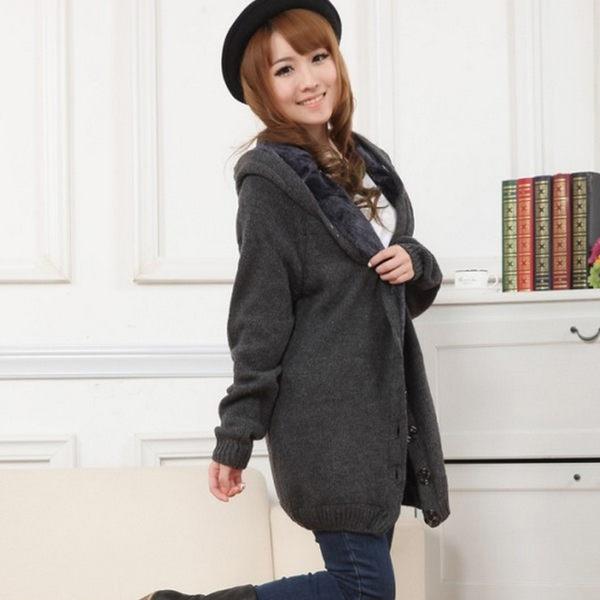 粗羊毛線純色連帽針織外套 中長款寬鬆連帽外套均碼(共5色)