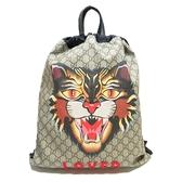 GUCCI 古馳 米色PVC雙G LOGO後背包Angry Cat Print Drawstring Backpack【BRAND OFF】