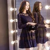 長袖蕾絲洋裝秋季新款韓版時尚修身顯瘦蕾絲洋裝A字蓬蓬打底裙中秋節搶購