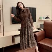 超殺29折 韓國風優雅氣質顯瘦碎花拼接假兩件長袖洋裝