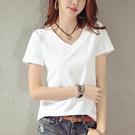 夏裝新款白色V領短袖T恤女裝寬鬆半袖體恤衫純色大碼上衣服潮
